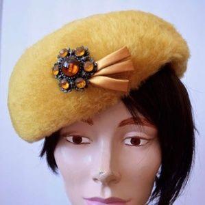 Vintage 1960s Mustard Faux Fur Hat